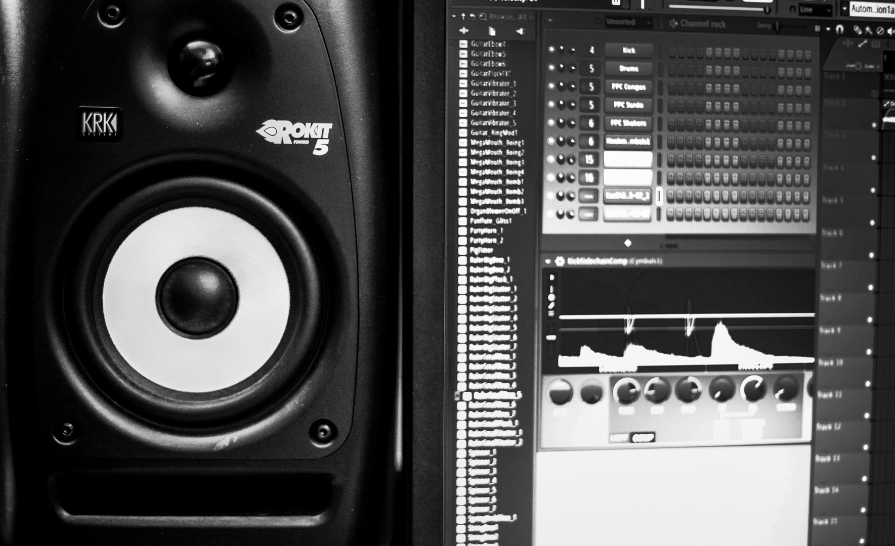 Monitoring a film score on studio monitors