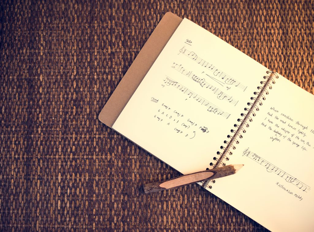 Music notebook with notation