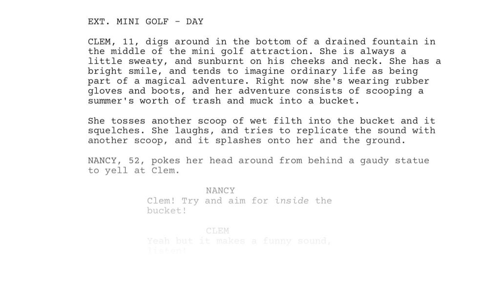 screenshot of short film script