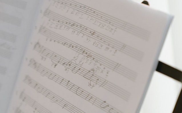 musical notes on composition paper
